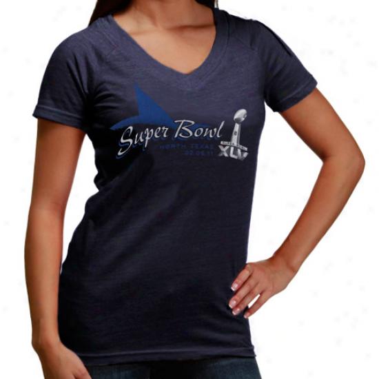 Dallas Cowboys Tees : Ladies Navy Blue Superr Bowl Xlv Pivot Point Tri-blend Tees