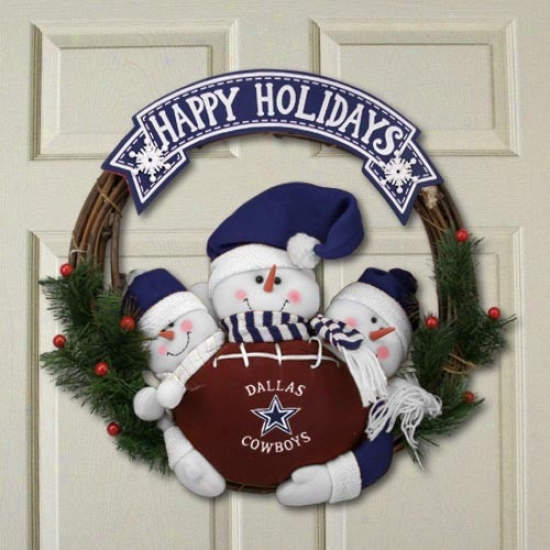 Dallas Cowboys Three Snowmen Happy Holidays Garland