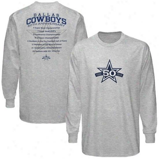 Dallas Cowboys Tshirt : Dallas Cowboys Ash 50th Anniversary Stats Long Sleeve Tshirt