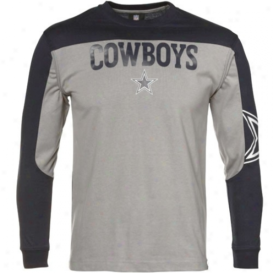 Dallas Cowboys Tshirts : Reebok Dallas Cowboys Youth Silver-navy Blue Arena Slow Sleeve Tshirts
