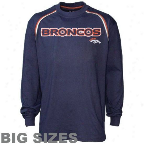 Denver Bronco Attire: Denver Bronco Navy Blue Close Look Big Sizes Lnog Sleeve T-shirt