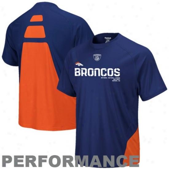 Denver Bronco Attire: Reebok Denver Bronco Navy Blue Conflict Sideline Psrformance T-shirt