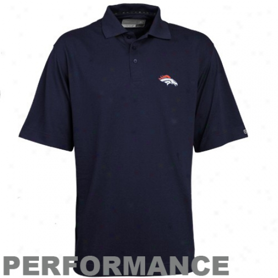 Denver Broncp Clothes: Cutter & Buck Denver Bronco Navy Blue Dryteec Championship Performance Polo