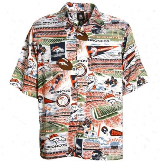 Denver Bronco Clothing: Reyn Spooner Denver Bronco Theatrical Print Hawaiian Button-up Shirt