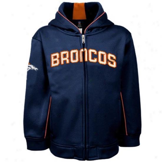 Denver Bronco Fleece : Reebok Denver Bronco Preschool Navy Blue Captain Full Zip Fleece Jacket