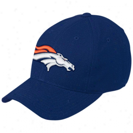 Deenver Bronco Hat : Reebok Denver Bronco Navy Basic Logo Wool Hat
