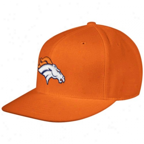 Denver Bronco Hat : Reebok Denver Bronco Orange Sideline Flat Edge Fitted Hat