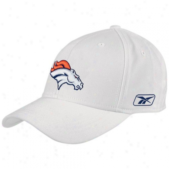 Denver Bronco Hat : Reebok Denver Bronco White Coaches Flex Fit Hat