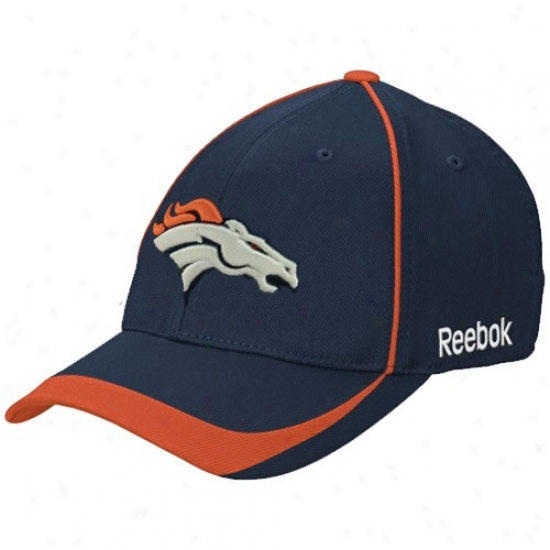 Denver Bronco Hats : Reebok Denver Bronco Navy Blue Blower Stretch Fit Hats