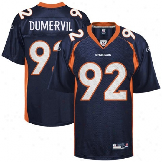 Dnever Bronco Jersey : Reebok Nfl Equipment Denver Bronco #92 Elvis Dumervil Navy Blue Replica Football Jersey