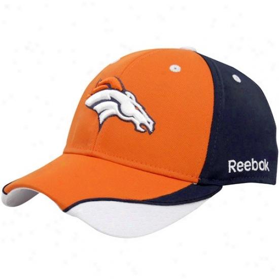 Denver Bronco Merchandise: Reebok Denver Bronco Orange-navy Blue St5uctured Adjustable Hat