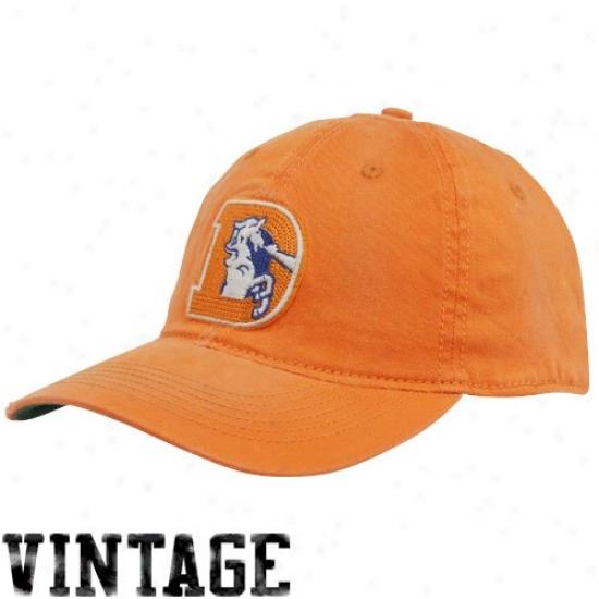 Denver Bronco Merchandise: Reebok Denver Bronco Orange Retro Distrexsed Slouch Flex Fit Hat