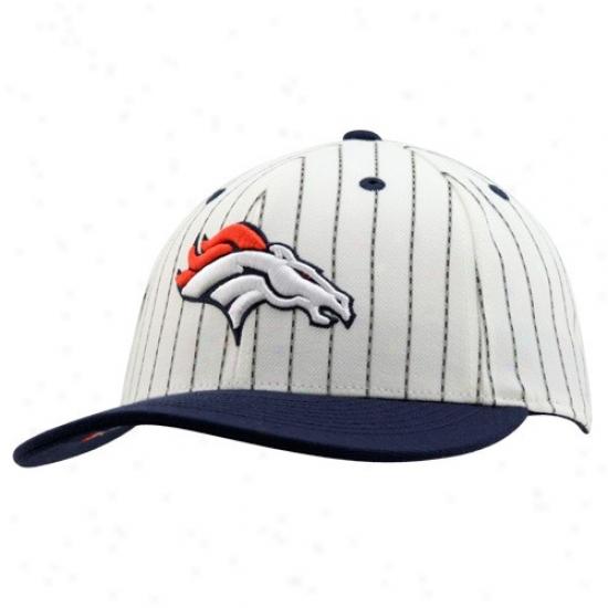 Denver Bronco Merchandise: Reebok Denver Bronco White-pinstripe Pro Sha;e Fitted Hat