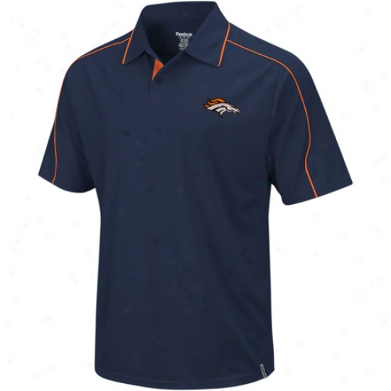 Denver Bronco Polo : Reeboo Denver Bronco Navy Blue Active Polo