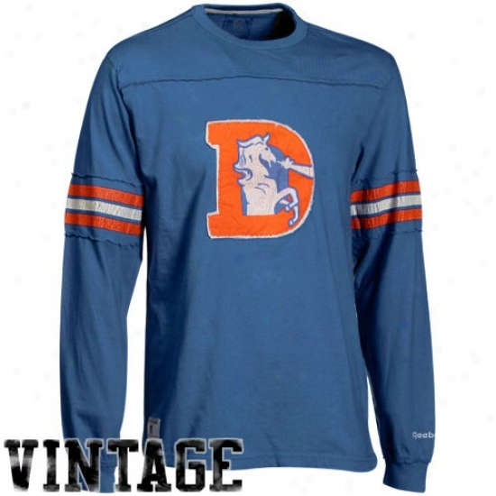 Denver Bronco Shirt : Reebok Denver Bronco Royal Blue Distressed Throwback Applique Premium Long Sleeve Shirt