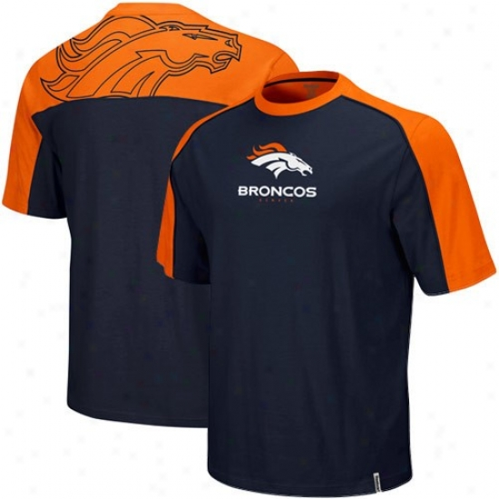 Denver Bronco Shirt : Reebok Denver Bronc Youth Navy Blue-orange Draft Pick Shirt