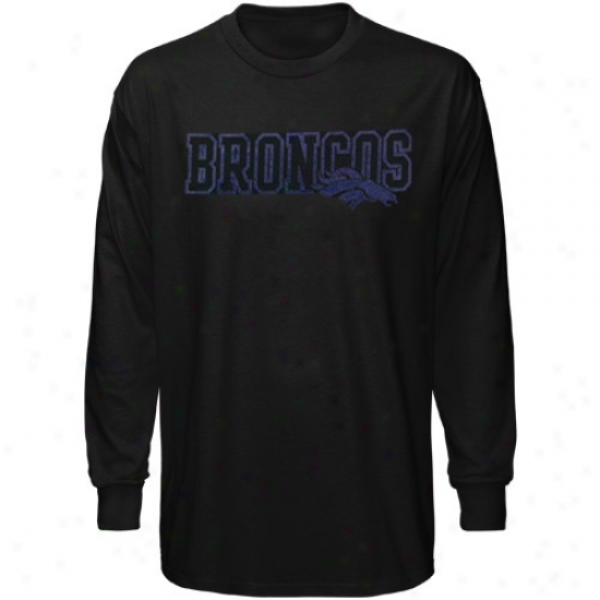 Denver Bronco Shirts : Reebok Denver Bronco Black Fashion Long-winded Sleeve Shirts