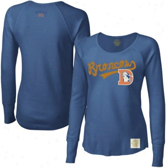 Denver Bronco Shirts : Reebok Denver Bronco Ladies Navy Blje Tail Sweep Long Sleeve Premium Thermal Shirts
