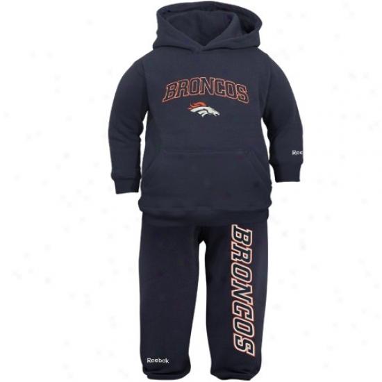 Denver Bronco Stuff: Reebok Denver Bronco Infant Navy Blue Pullover Hoody & Sweatpanta Set
