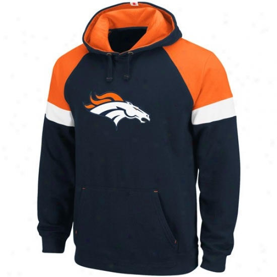 Denver Bronco Sweatshirts : Denver Bronco Navy Blue Passing Game Sweatshirts