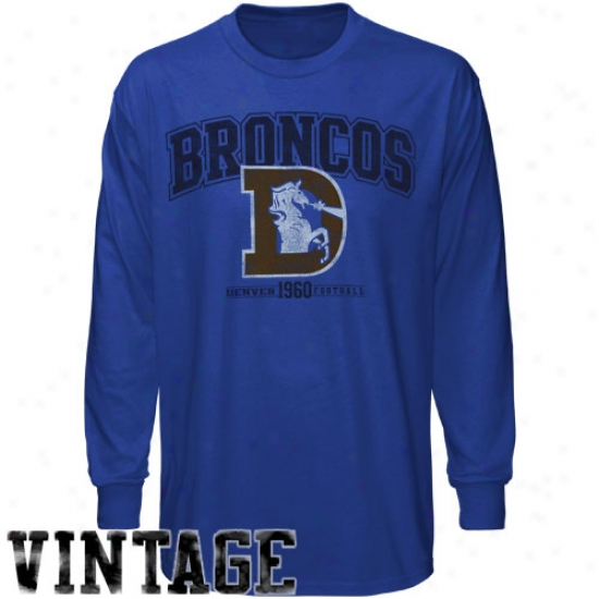 Denver Bronco T-shirt : Denver Broncco Navy Blue Legacy Critical Conquest Iv Long Sleeve T-shirt