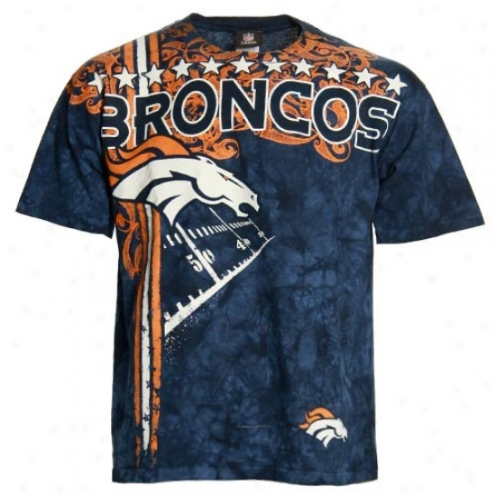 Denver Bronco T Shirt : Denver Bronco Navy Blue Tie Dye All Pro T Shirt