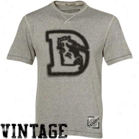 Denver Bronco T Shirt : Reebok Denver Bronco Ash Re-issue Vintage Heathered T Shirt