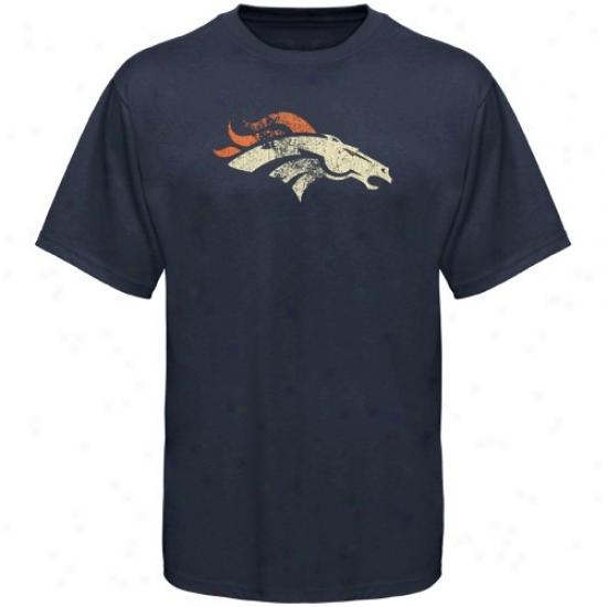Denver Bronco T Shhirt : Reebok Denver Bronco Youth Nay Blue Distressed Logo T Shirt