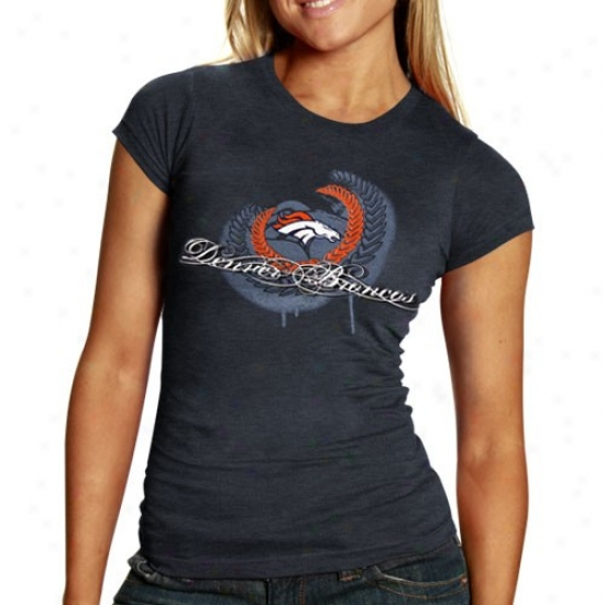 Denvet Bronco Tee : Denver Bronco Ladies Navy Blue Fresh Paint Premium Tri-blend Tee