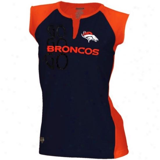 Denver Bronco Tees : Reebok Denver Bronco Ladies Navy Blue-orange Two-toned Split Neck Tees