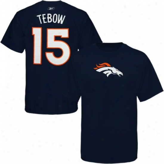 Denver Bronco Tshirt : Reebok Denver Bronco #15 Tim Tebow Navy Blue Scrimmage Gear Tshirt