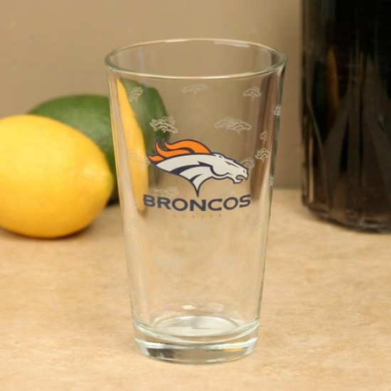 Denver Broncos 16oz. Satin Etch Pint Glass