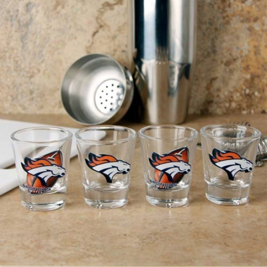 Denver Broncos 4-pack Enhanced Hi-def Design Shot Glass Set