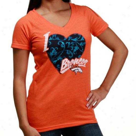 Denver Broncos Attire: Reebok Denver Broncos Ladies Orange I Love This Team V-neck Tri-blend T-shirt