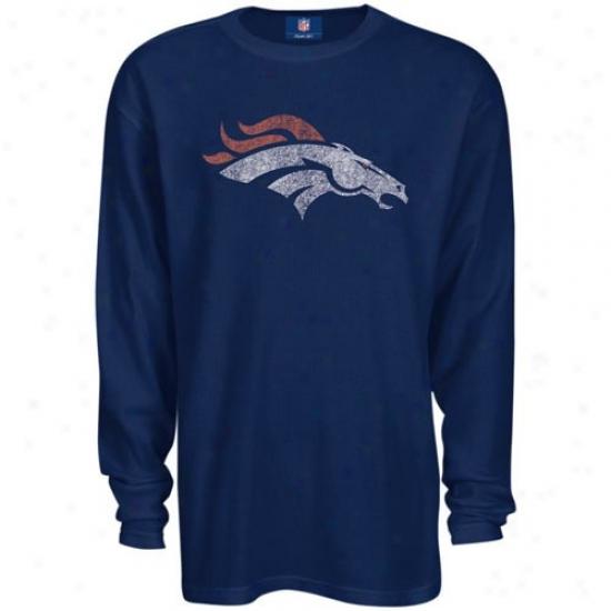 Denver Broncos Attore: Reebok Denver Broncos Navy Blue Thermal Long Sleeve Top