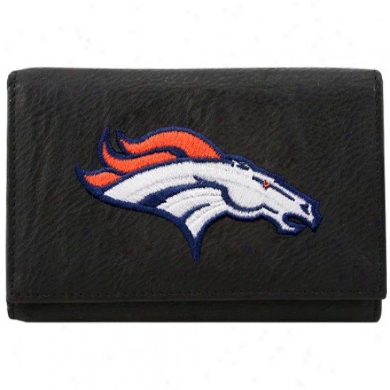 Denver Broncos Black Embroidered Leather Trifold Wallet