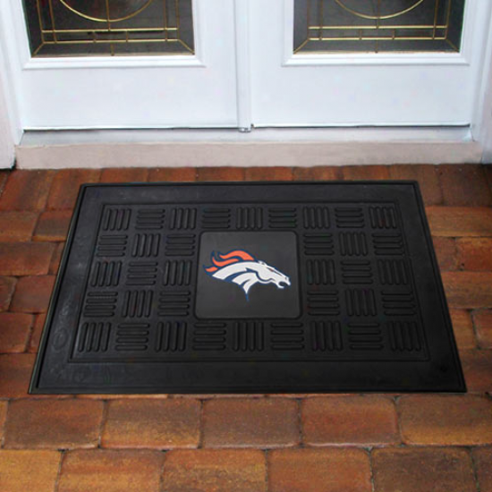 Denver Broncos Black Team Logo Rubber Mat