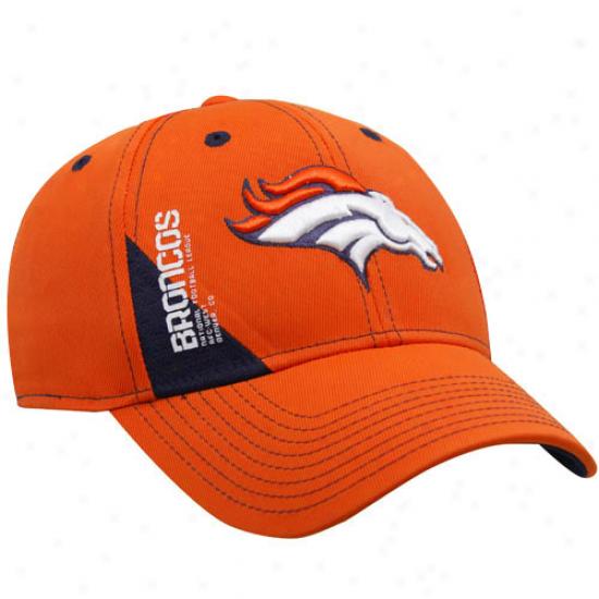 Denver Broncos Caps : Reebok Denver Broncos Orange Official 2010 Draft Draft Day Flex Fit Caps