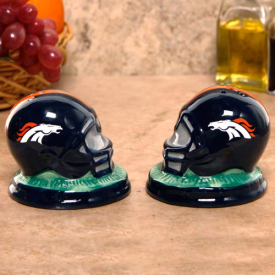 Denver Broncos Ceramic Helmet Salt & Pepper Shakers