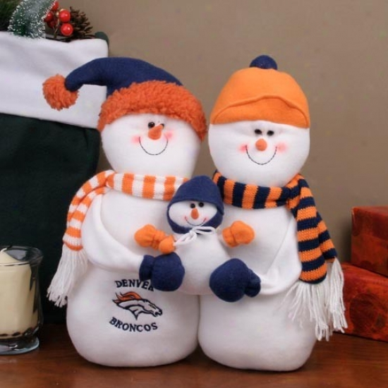Denver Broncos Decorative Table Top Snowman Family Figurine