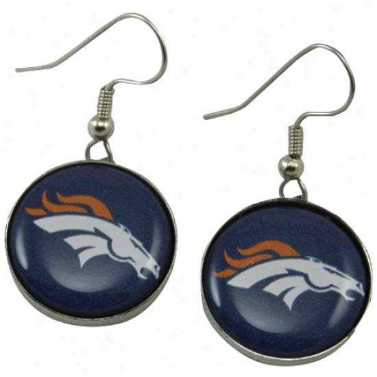 Denver Broncos Enamel Logo Charm Drop Earrings