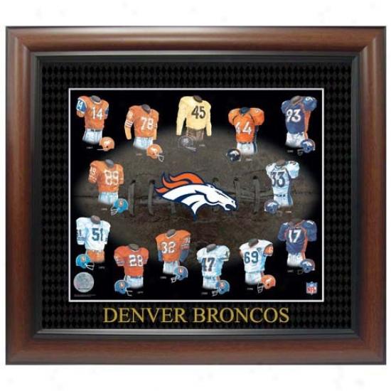 Denvef Brroncos Evolution Of The Team Uniform Framed Picture