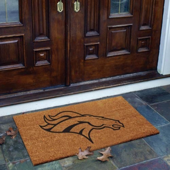 Denver Broncos Flocked Coir Door Mat