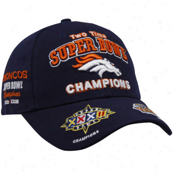 Denver Broncos Gear: Reebok Denver Broncos Ships Blue Super Bowl Commemoartive Adjuqtable Hat