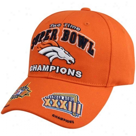 Denver Broncos Gear: Reebok Denver Broncos Orange 2x Super Bowl Champions Hat