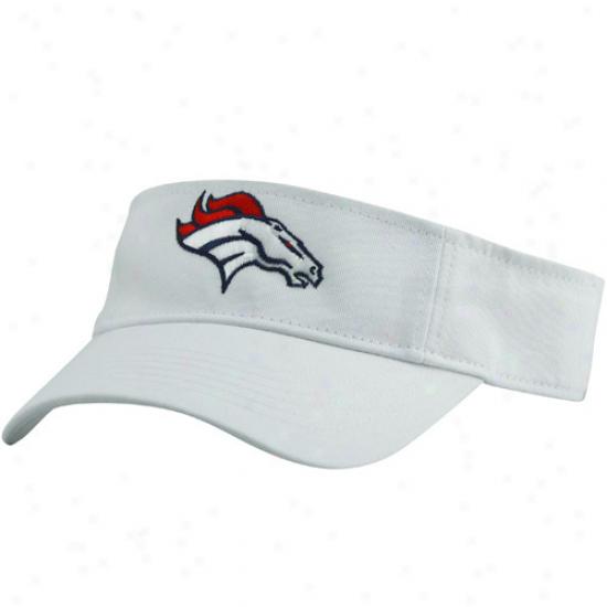 Denver Broncos Gear: Reebok Denver Broncos White Basic Logo Visor