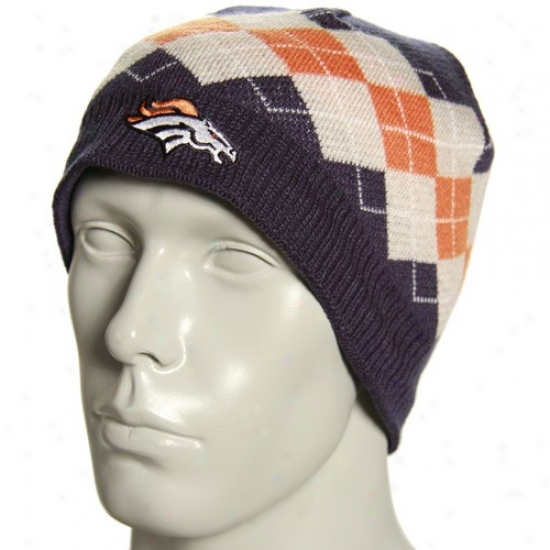 Denver Broncos Cardinal's office : Reebok Denver Broncos Navy Blue Argyle Knit Beanie