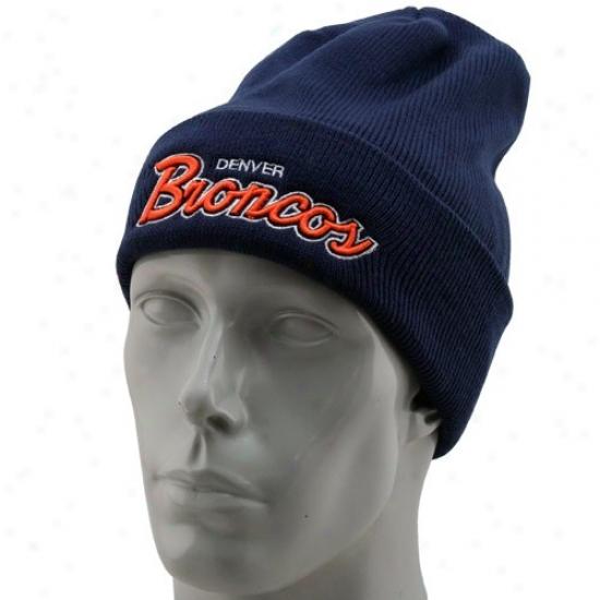Denver Broncos Hats : Reebok Denver Broncos Navy Dismal Cuff Knit Beanie Hats