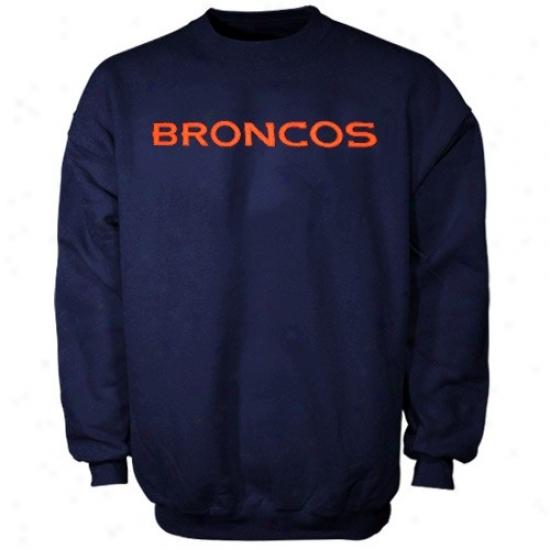 Denver Bronxos Hoody : Denver Broncos Navy Blue Classic Crew Iii Hoody