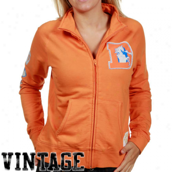 Denver Broncos Hoody : Reebok Denver Broncos Ladiee Orange Okd School Full Zip Track Jacket
